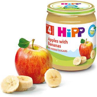 HIPP БИО Бебешко пюре Ябълки с банани 125 гр. 4 м.+